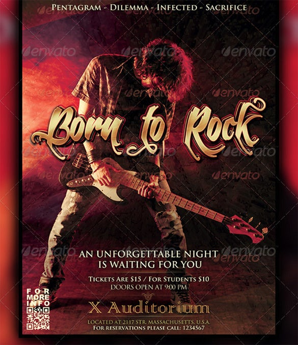 born to rock a4 poster flyer