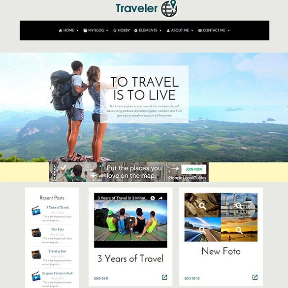modern travel wordpress template