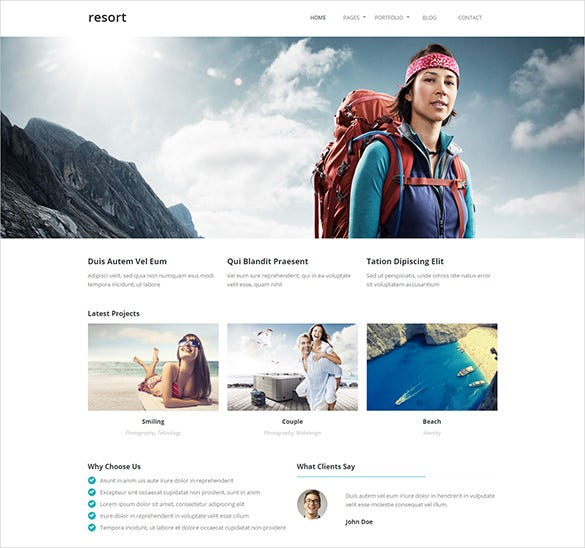 travel resort php template