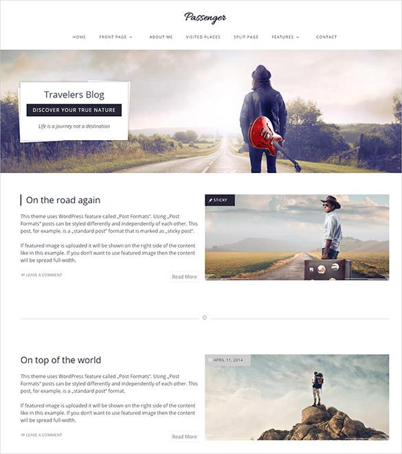 passenger travel wordpress php theme