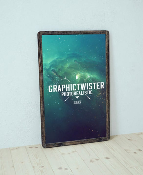 old wood poster frame mockup