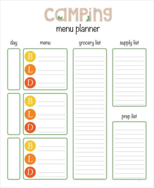 Printable menu planning template 10 free word pdf for Camping menu planner template