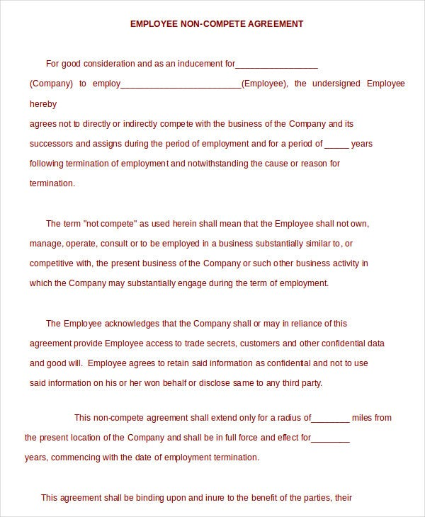 Non Compete Agreement Template 9 Free Sample Example Format