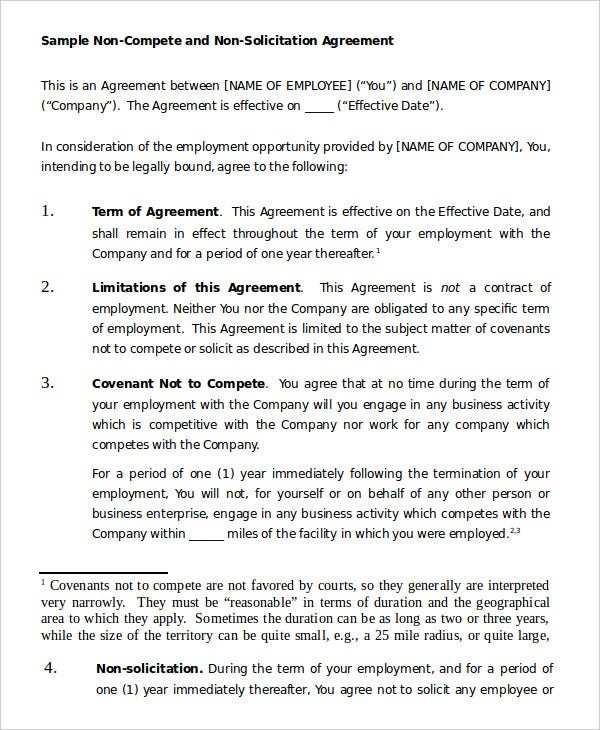 Non Compete Agreement Template   Free Sample Example Format