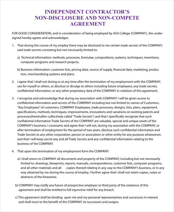 Non compete agreement template 9 free sample example format independent contractor non compete agreement template platinumwayz