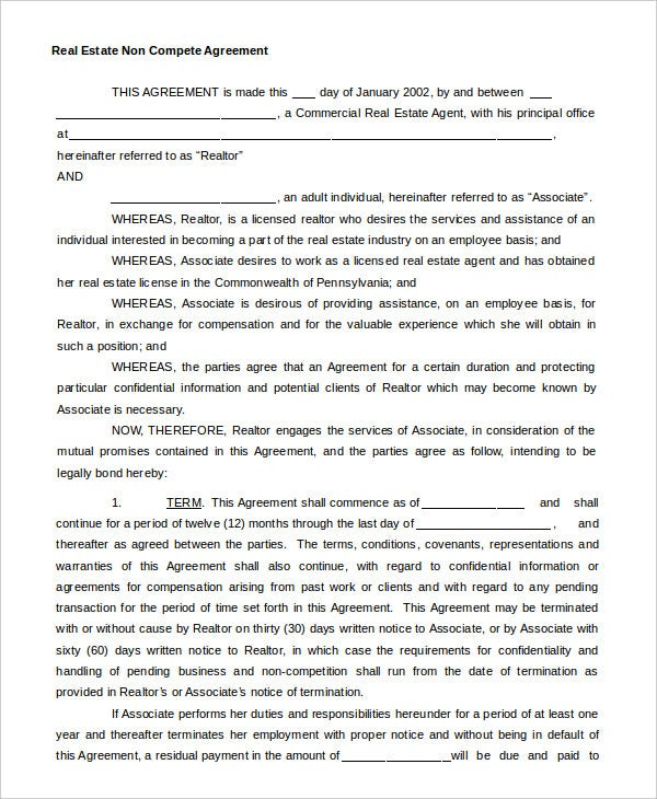 real estate non compete agreement template download