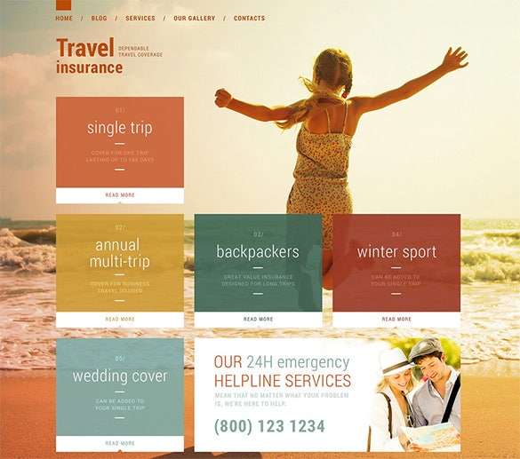 travel insurance wordpress template