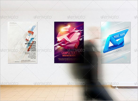 photorealistic gallery poster mock up