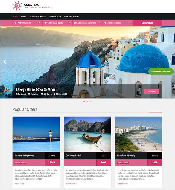 responsive travel wordpress theme