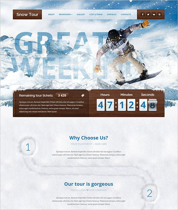 snow tour travel wordpress theme