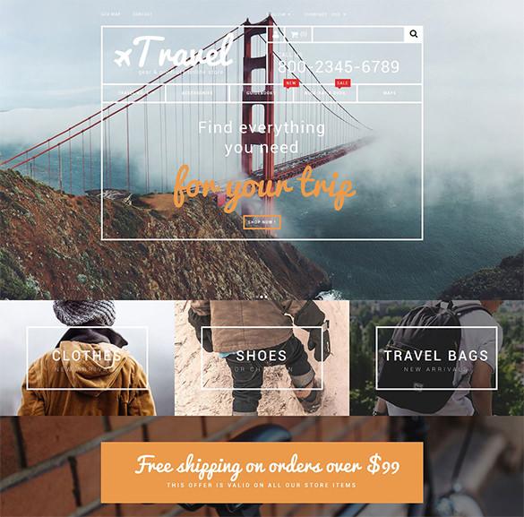 travel gear store prestashop html5 theme