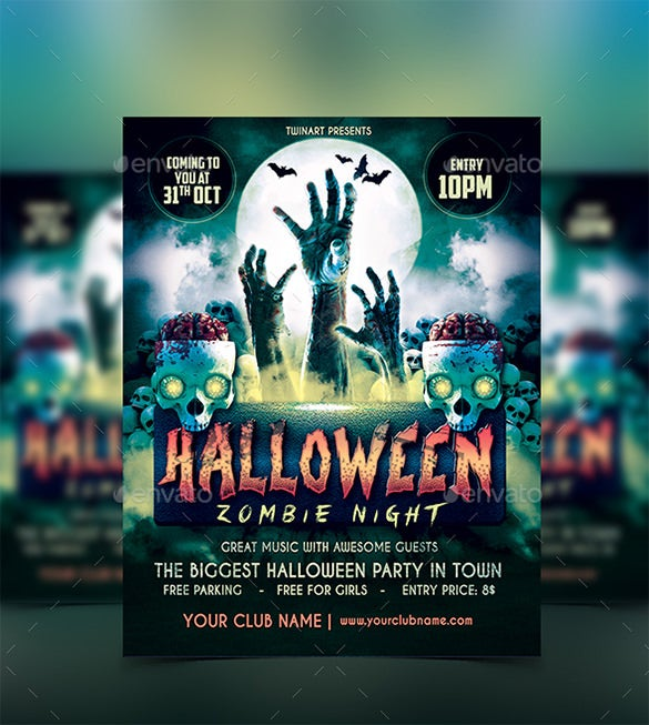 halloween party zombie flyer - Free Halloween Flyer Templates
