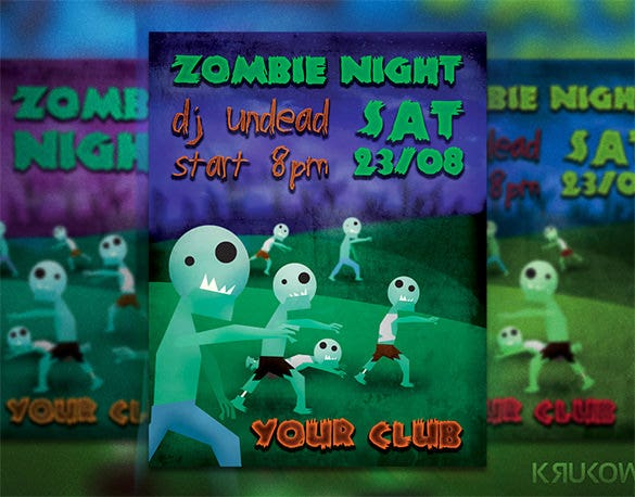 zombie night flyer poster
