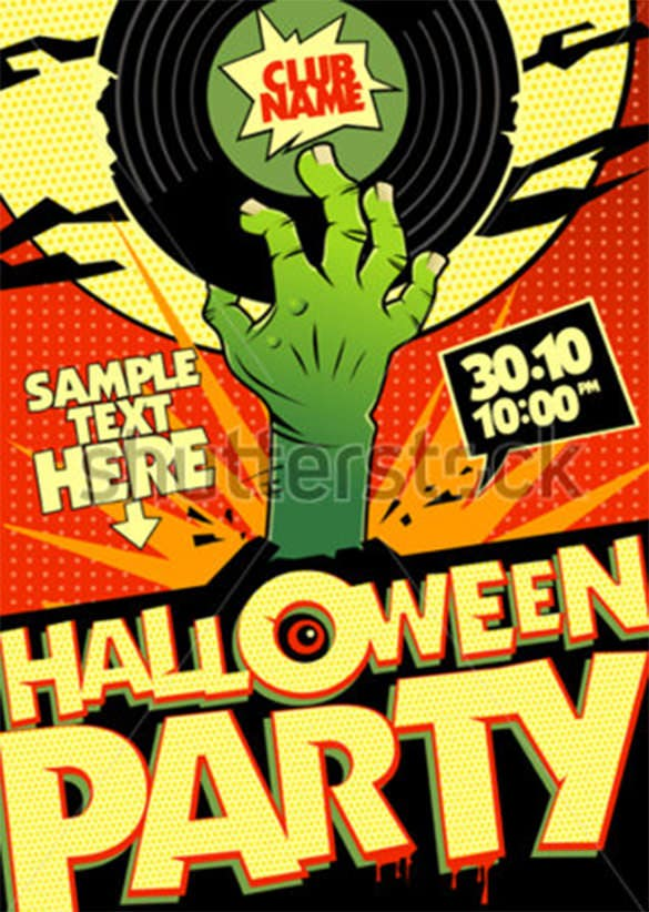 halloween party design in pop art style