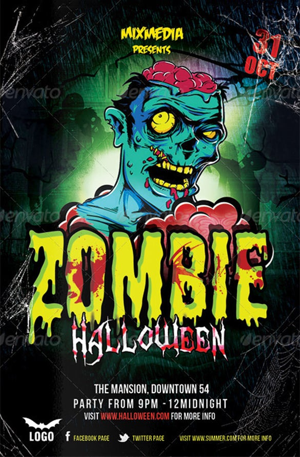 21 zombie flyer templates free psd eps ai indesign for Free halloween flyer templates