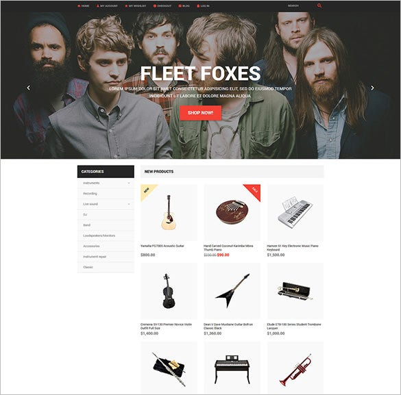 music store magento blog theme