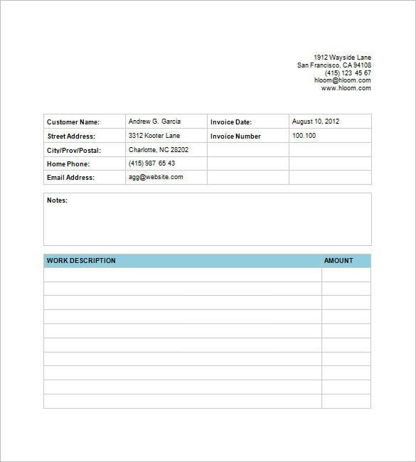 Billing Invoice Template 6 Free Printable Word Excel Pdf Format
