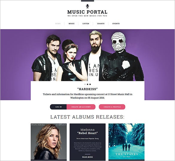 music portal responsive bootstrap template