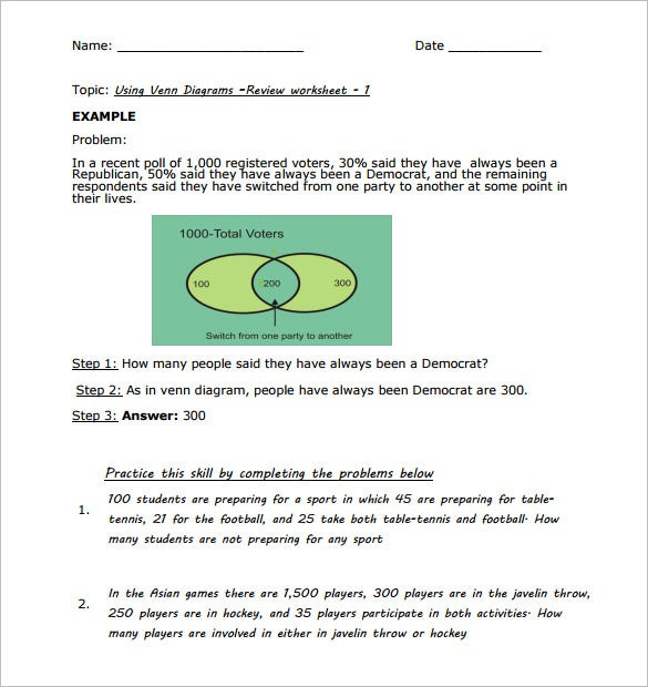 Venn Diagram Worksheet for Students PDF Format 9 venn diagram worksheet templates pdf, doc free & premium