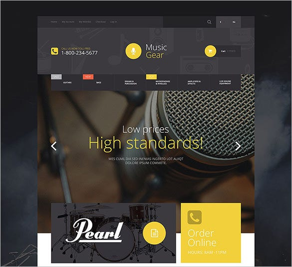 music gear store magento bootstrap theme