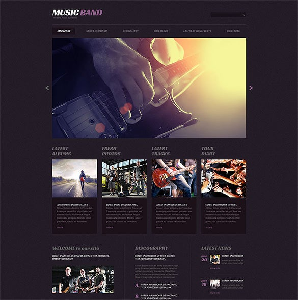 music band responsive wordpress bootstrap theme