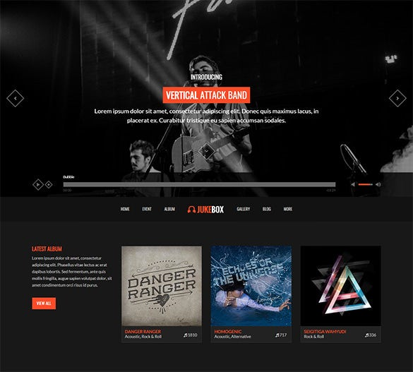 music band wordpress bootstrap theme