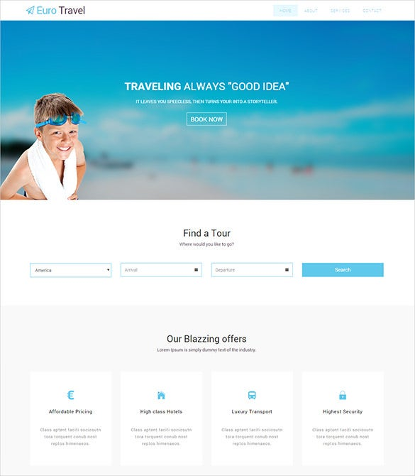 free responsive travel agency html5 bootstrap theme