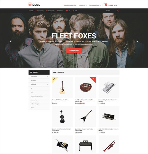amazing music store magento php theme