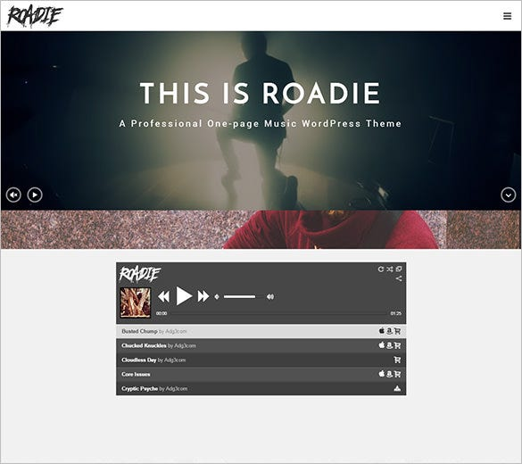 professional one page music php theme