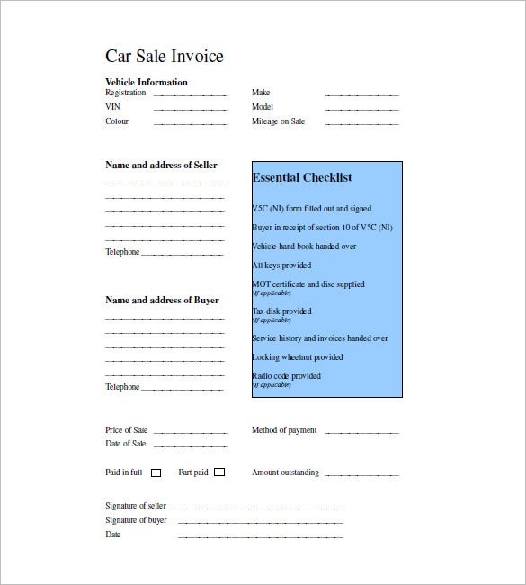 car sales invoice tempalte