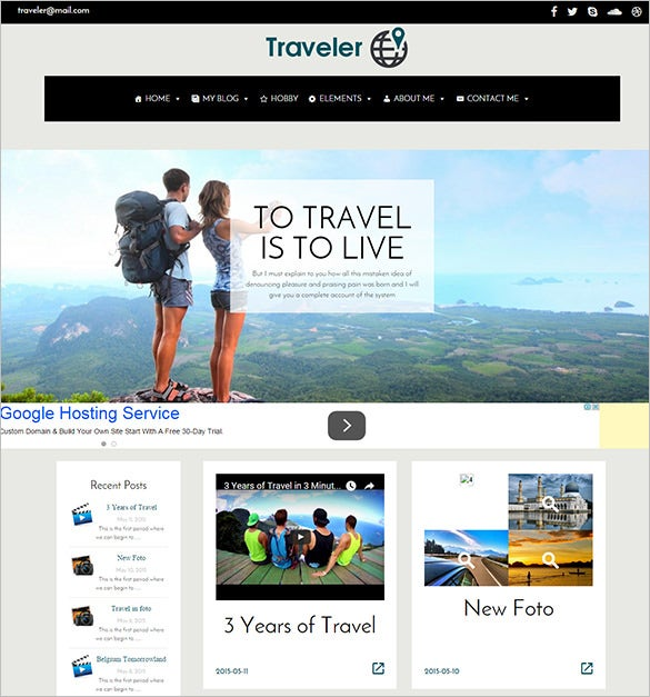traveler wordpress website blog theme