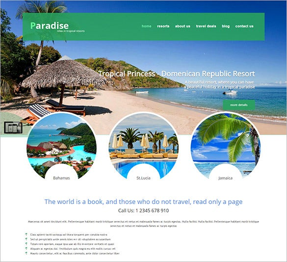 paradise travel agency website joomla theme