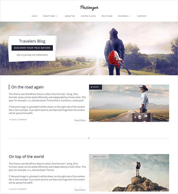 passenger travelers wordpress theme