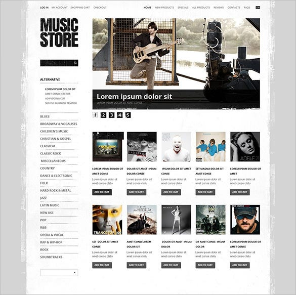 amazing music store zencart template