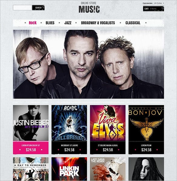 music store zencart template download