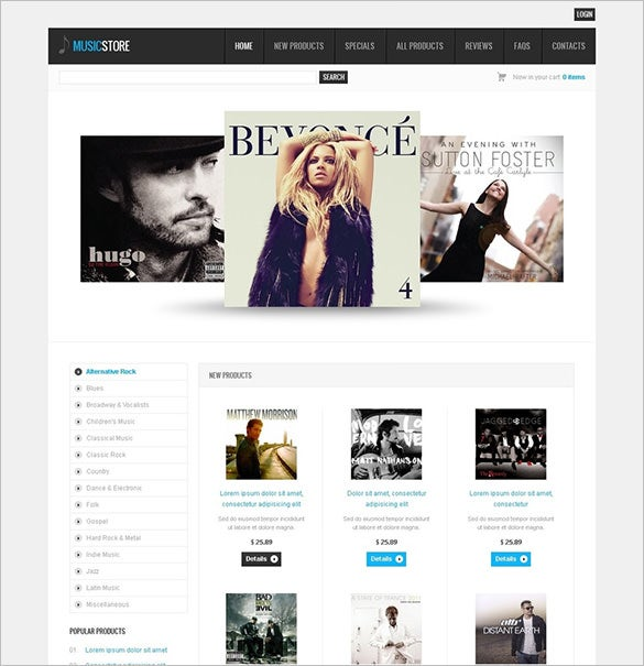 professional music zencart template
