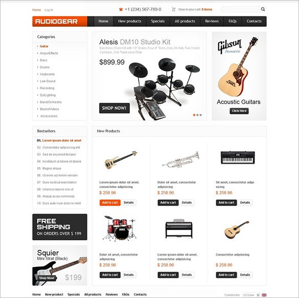 musical instruments zencart template