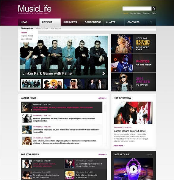 music portal psd template