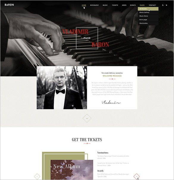 baron music psd template