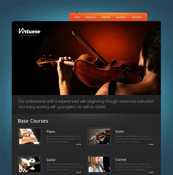 amazing music school psd template