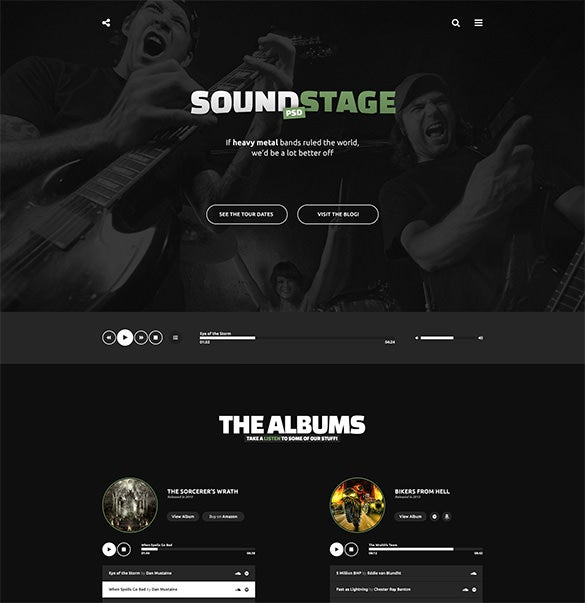 a rocking psd music template