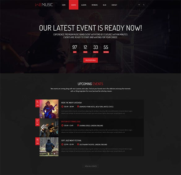 music band event psd template