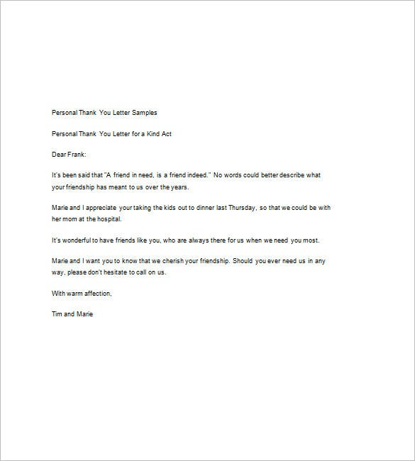 Sample thank you note 9 free word excel pdf format download the sample personal thank you note is a sweet and simple thank you note that you can use to show your appreciation and gratitude towards the person for the expocarfo