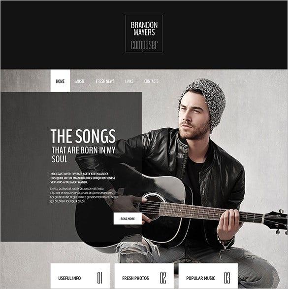 music composer portfolio website template