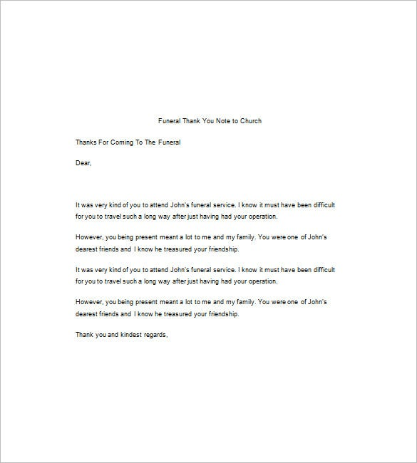 Funeral thank you note 8 free word excel pdf format download funeral thank you note to church word format thecheapjerseys