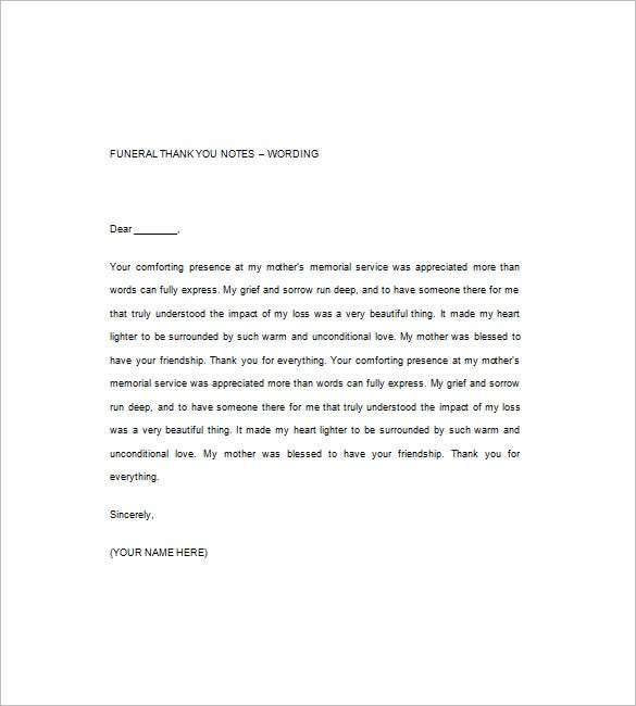 Funeral Thank You Note 8 Free Word Excel PDF Format Download – Funeral Thank You Note