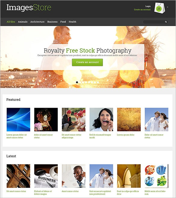 responsive photography opencart template
