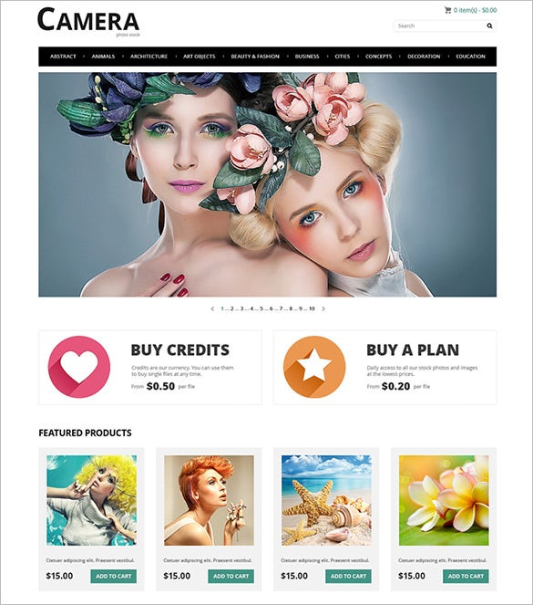 photo bank photography opencart template