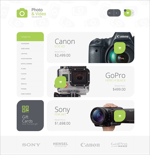 photography supplies opencart theme