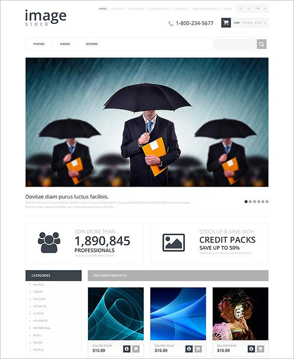 stock photography responsive opencart template